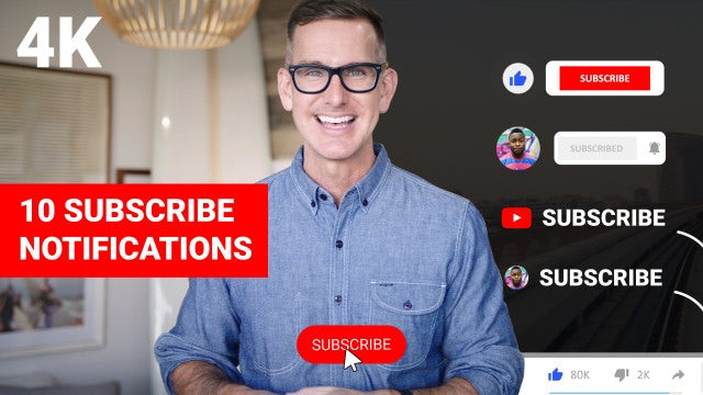 10 Youtube Subscribe Notifications 4K: After Effects Templates