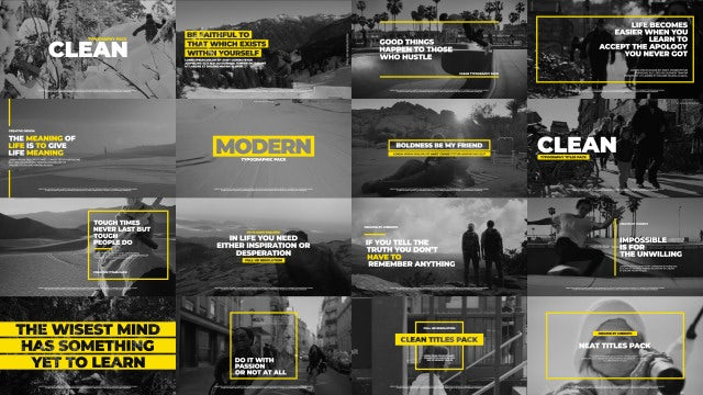 Clean Typographic Pack: After Effects Templates