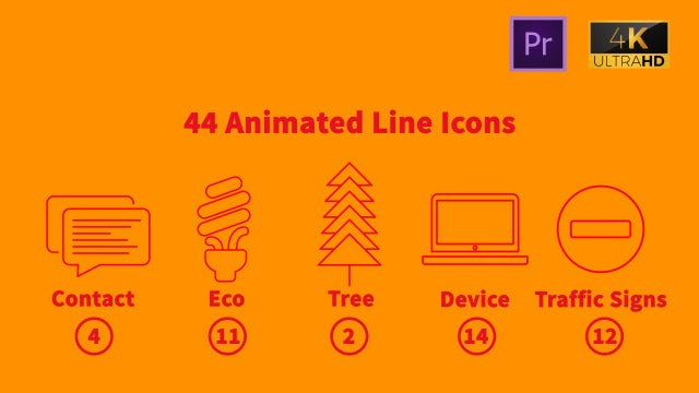 44 Animated Line Icons: Motion Graphics Templates