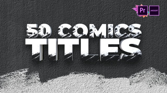 50 Comics Brush Titles: Motion Graphics Templates