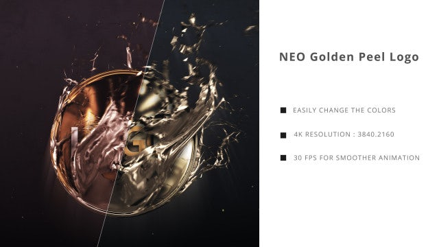 Neo Golden Peel Logo: After Effects Templates