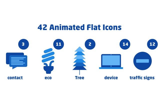 42 Animated Flat Icons: Motion Graphics Templates