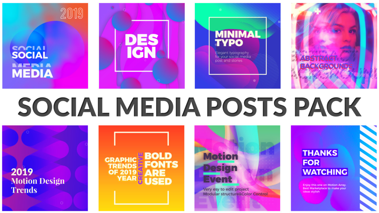 Social Media Posts Pack After Effects Templates Motion Array