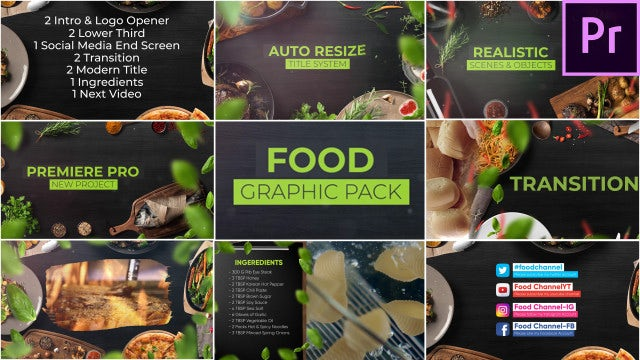 Food Graphic Pack For Premiere Pro: Premiere Pro Templates