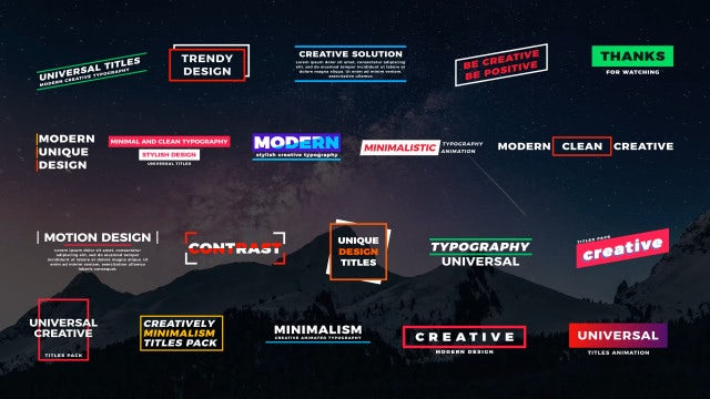 20 Universal Titles: Motion Graphics Templates