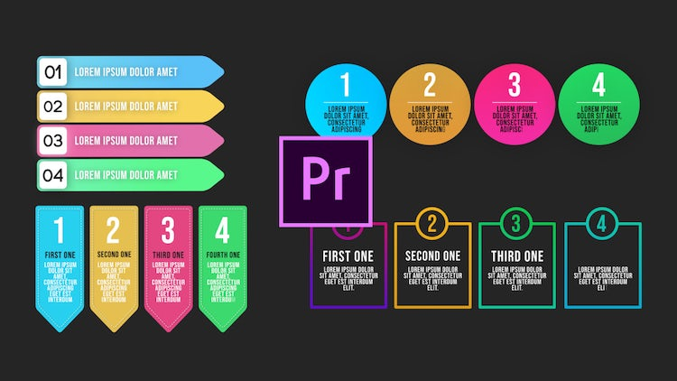 Infographic Animated Lists V2 - Motion Graphics Templates