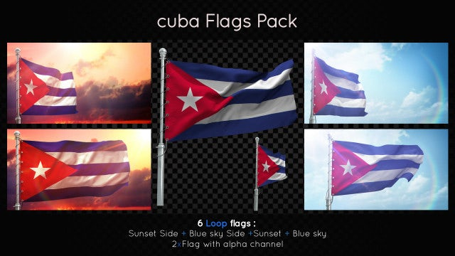 Cuba Flags Pack: Stock Motion Graphics