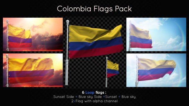 Colombia Flags Pack: Stock Motion Graphics