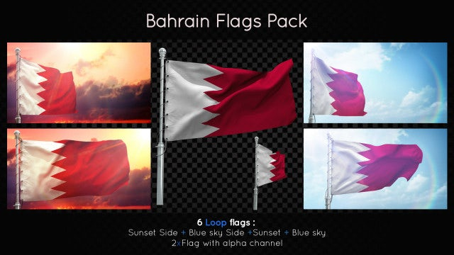 Bahrain Flags Pack: Stock Motion Graphics