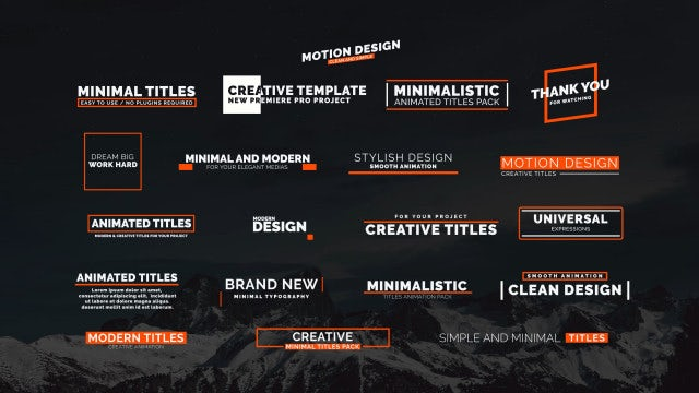 20 Animated Titles II: Premiere Pro Templates