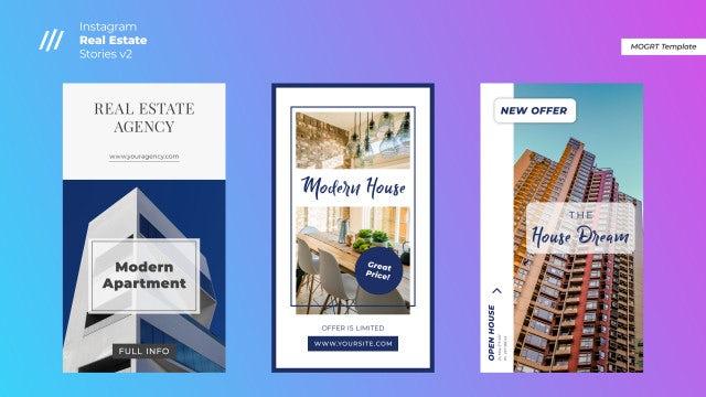 Instagram Real Estate Stories V2: Motion Graphics Templates
