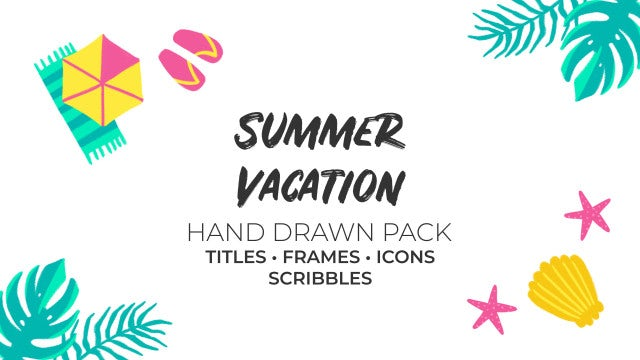 Summer Vacation Hand Drawn Pack: Premiere Pro Templates
