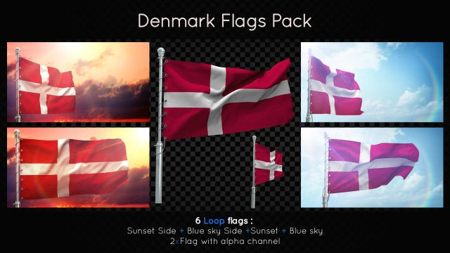 Denmark Flags Pack: Stock Motion Graphics
