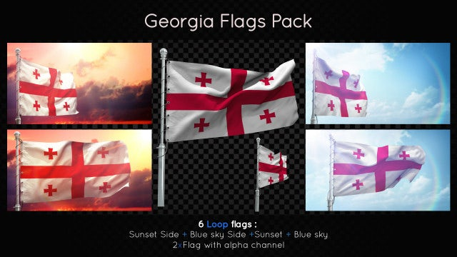 Georgia Flags Pack: Stock Motion Graphics