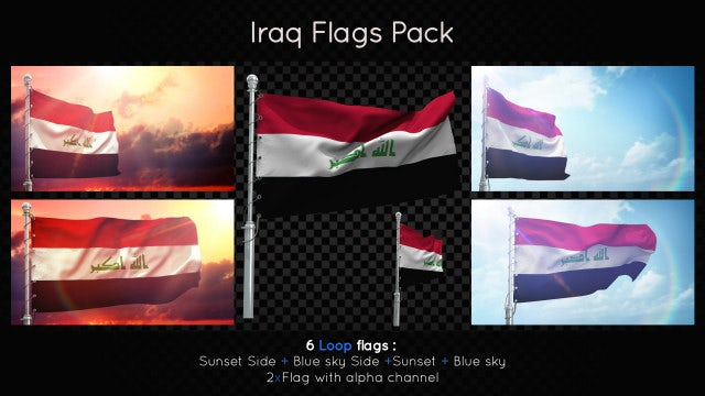 Iraq Flags Pack: Stock Motion Graphics