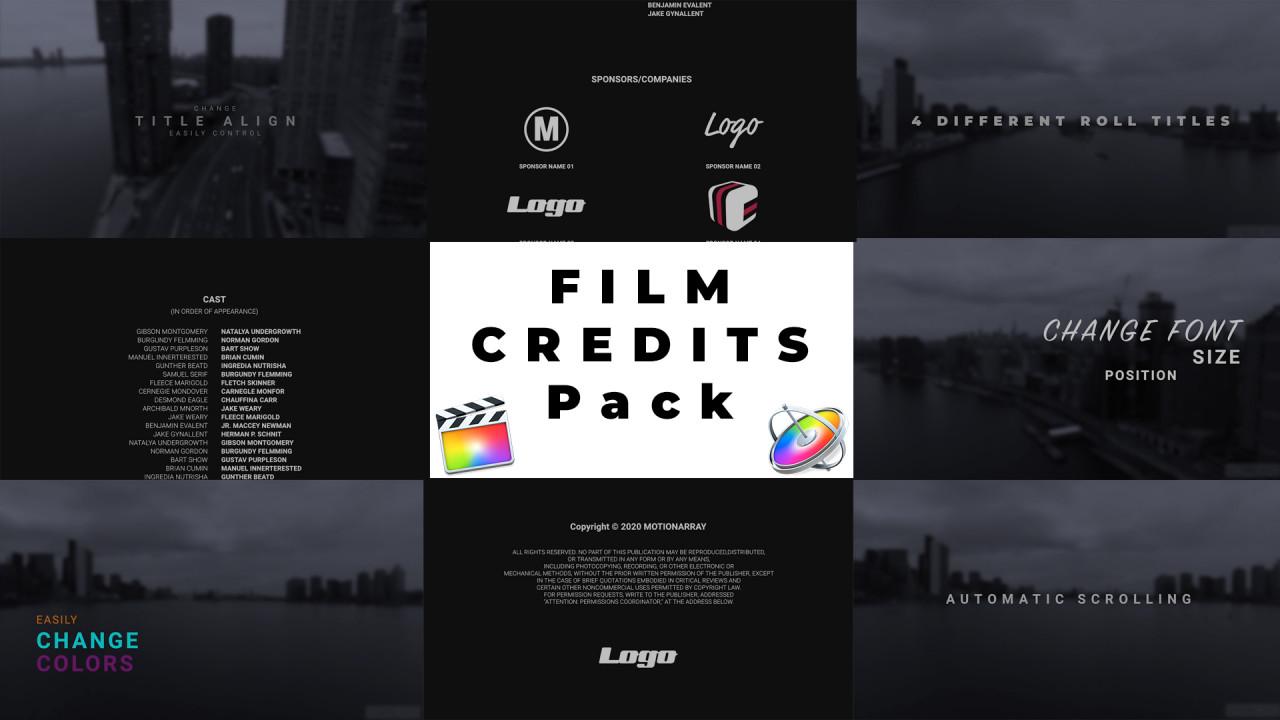 Film Credits Pack Final Cut Pro Templates Motion Array