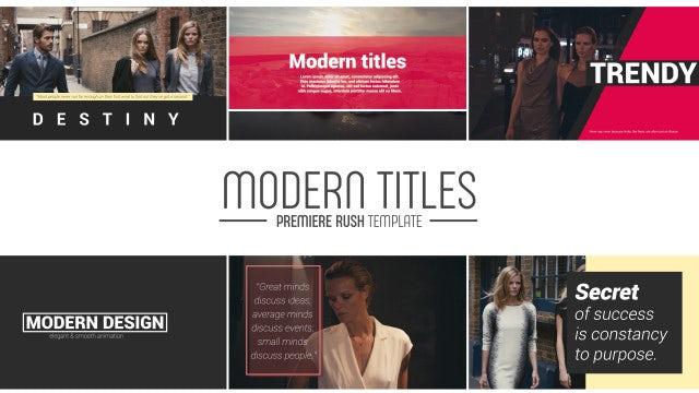 Modern Titles: Premiere Rush Templates