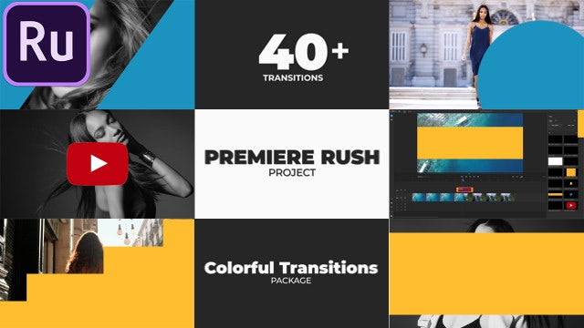 Colorful Transitions Pack: Premiere Rush Templates