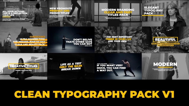 Typography Titles - Clean V1: Premiere Rush Templates