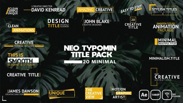 Neo Typomin Title Pack: After Effects Templates