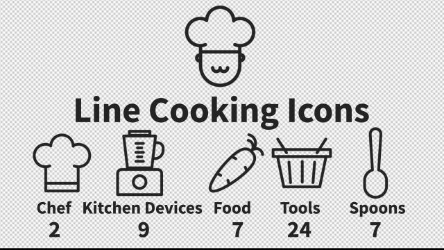 Line Cooking Icons: After Effects Templates