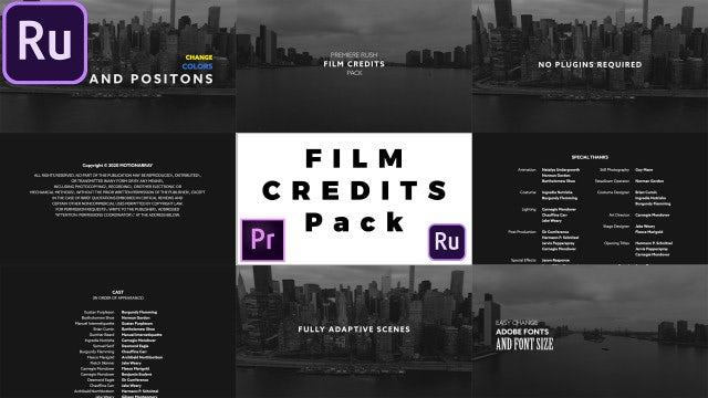 Film Credits Pack: Premiere Rush Templates
