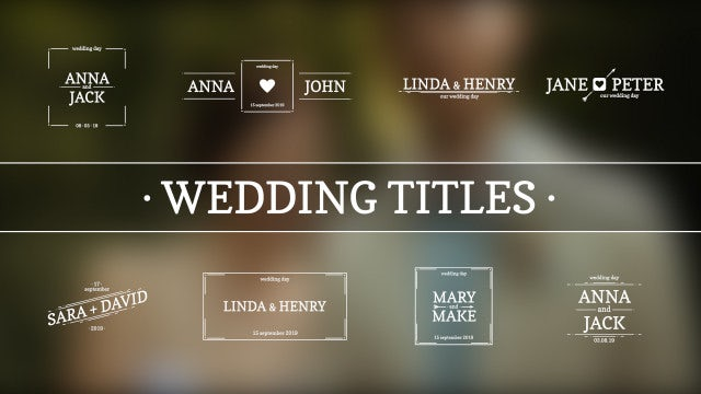 Wedding Titles: Premiere Rush Templates