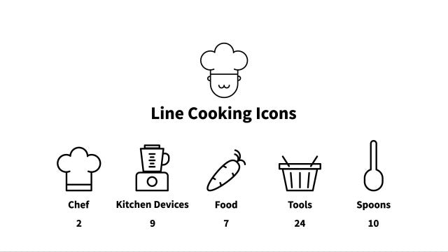 Line Cooking Icons: Motion Graphics Templates