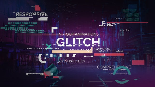 Stylish Glitch Titles: Premiere Rush Templates