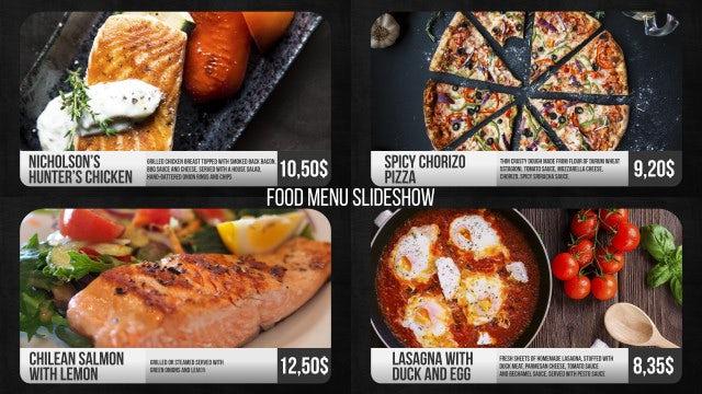 Food Menu Slideshow: Premiere Pro Templates