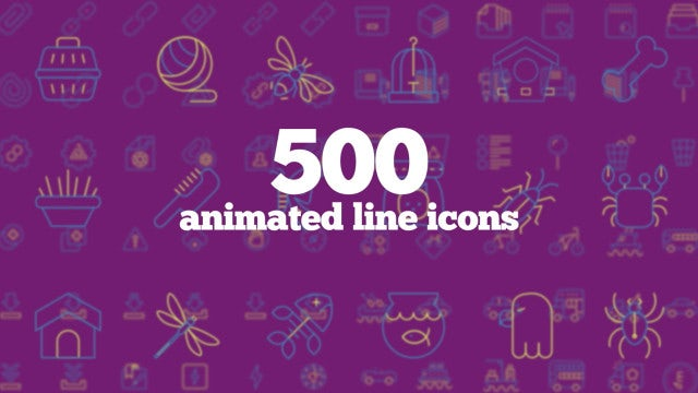 500 Animated Line Icons (Part 6): After Effects Templates