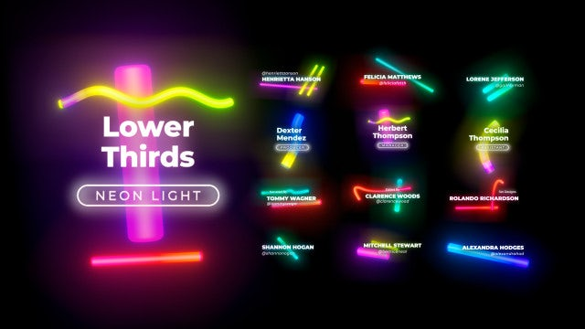 Lower Thirds Neon Titles 3 - Motion Graphics Templates