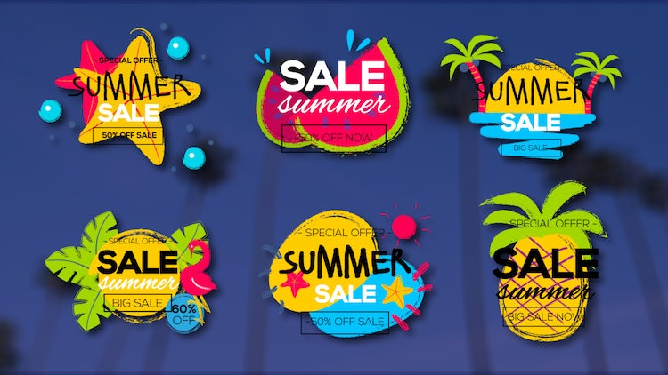 6 Colorful Summer Titles: Motion Graphics Templates