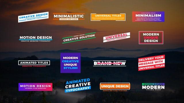 Universal Titles II: Motion Graphics Templates