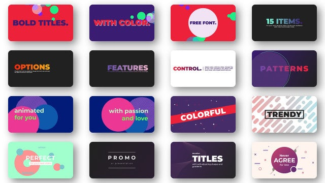 Bold Colorful Titles: Motion Graphics Templates