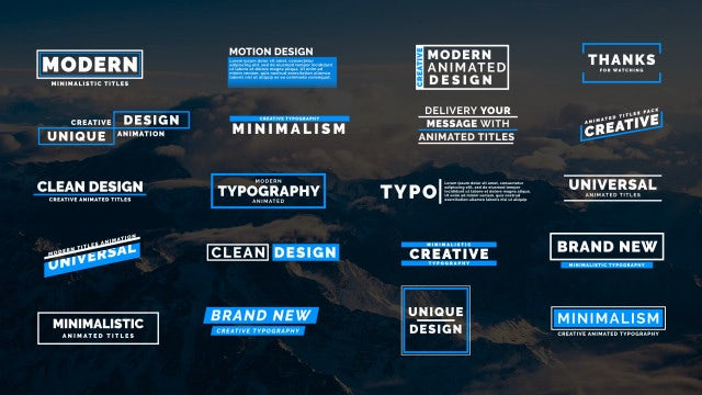 20 Animated Titles VII: Motion Graphics Templates
