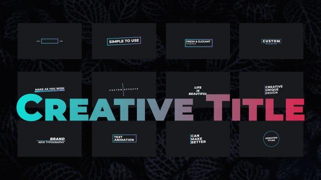 Creative Title V2: Motion Graphics Templates