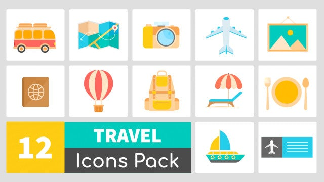 12 Animated Travel Icons Pack: Stock Motion Graphics