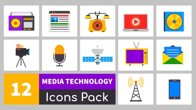 Media Technology Icons Pack: Motion Graphics Templates