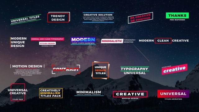 20 Universal Titles: Premiere Pro Templates