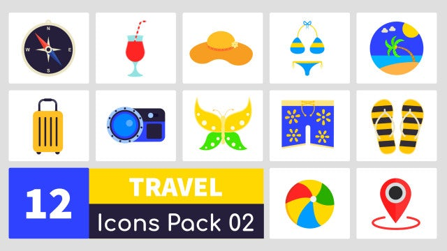 Animated Travel Icons Pack 02: After Effects Templates