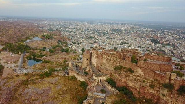 Mehrangarh Fort Aerial: Stock Video