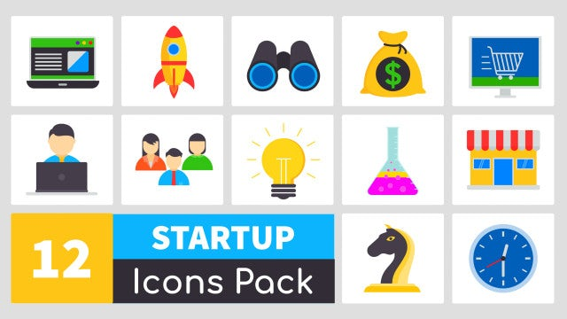 Animated Startup Icons Pack: Motion Graphics Templates
