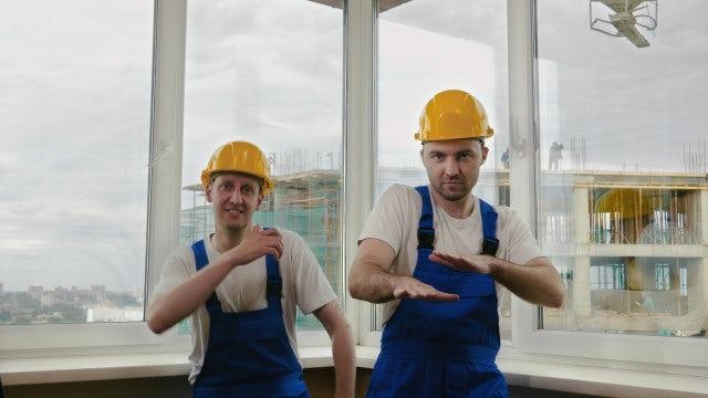 Builders Dancing: Stock Video