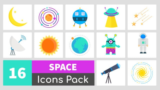 16 Animated Space Icons Pack: Stock Motion Graphics