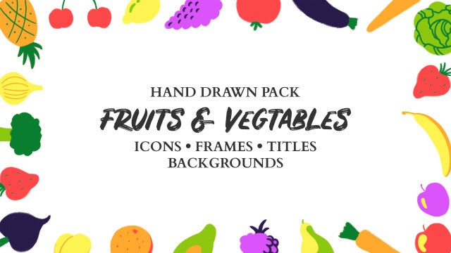 Fruits And Vegetables Hand Drawn Pack: Premiere Pro Templates