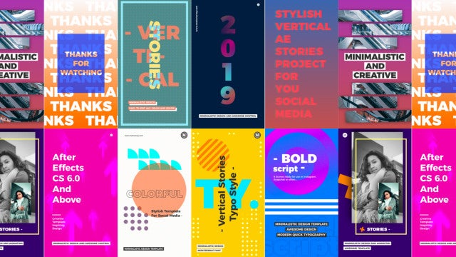 Vertical Typo Stories Pack: After Effects Templates