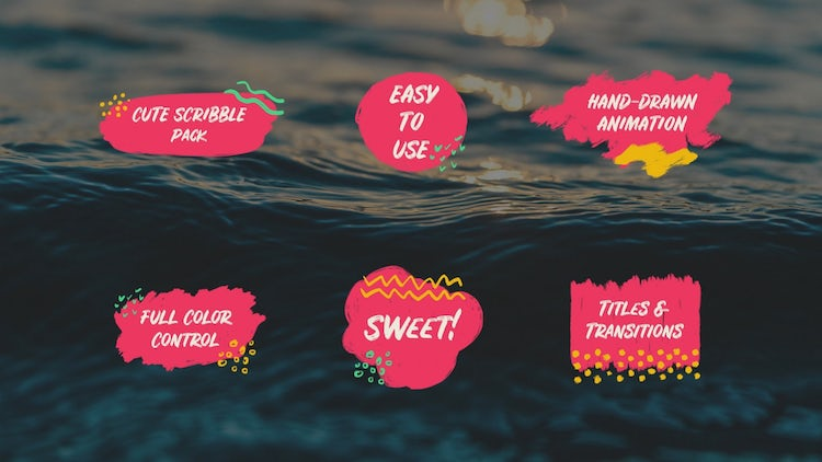 Cute Scribble Pack Titles & Transitions: DaVinci Resolve Templates
