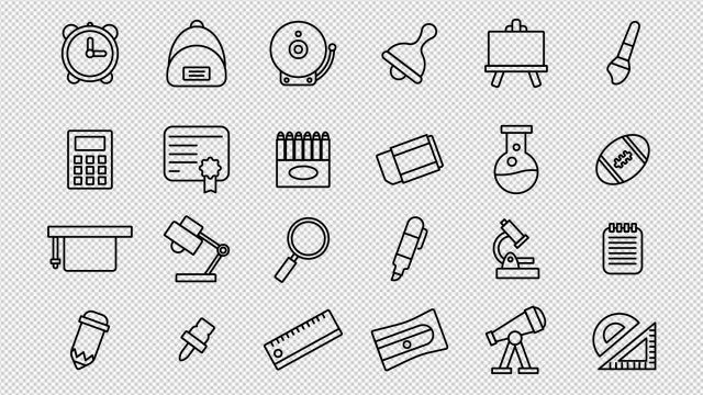 Back To School Icons: Stock Motion Graphics
