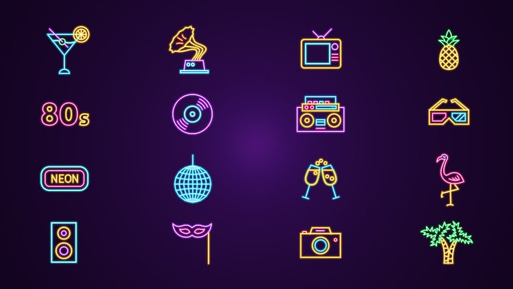 80s Neon Icons Pack - Stock Motion Graphics | Motion Array